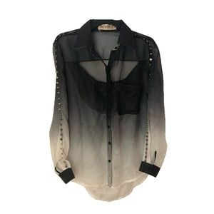 Sheer Black & White Ombré Blouse With Spike Detail